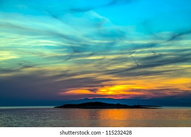 Colorful sunset on island Mljet,near Dubrovnik, Croatia.