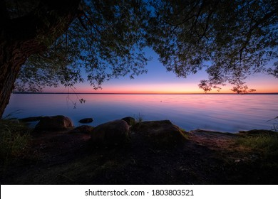 Colorful sunset on the lake