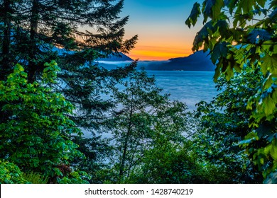 Colorful Sunset on Lake Cresent in Olympic National Park, Washington