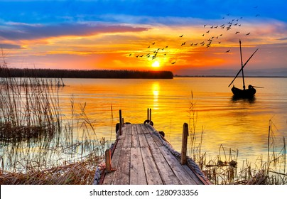 colorful sunset on the lake of Spain