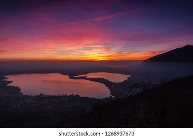 Colorful sunset on the lakes | Lecco, Lombardia - ITALY