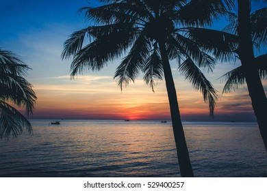 Colorful sunset on Phu Quoc island.