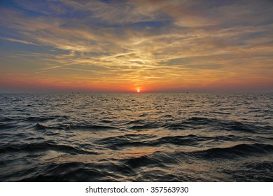 Colorful sunset on the sea