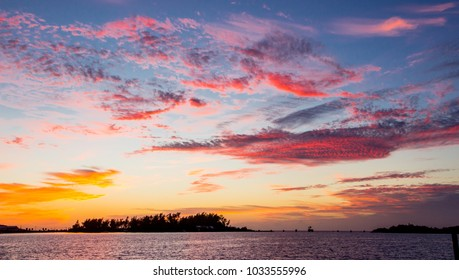 Colorful sunset on a tropical island