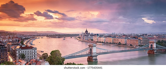 Colorful sunset over Budapest, Hungary