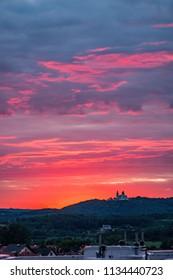 colorful sunset over camaldolese monastery in krakow