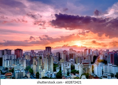 Colorful Sunset over the City, Caracas, Venezuela