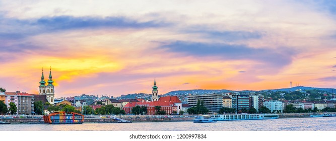 Colorful sunset over the historical district of Budapest city in Hungary.
