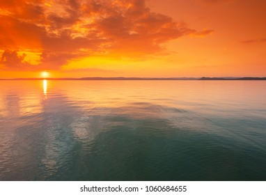 Colorful sunset over lake Balaton