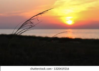 Colorful sunset over Lake Michigan
