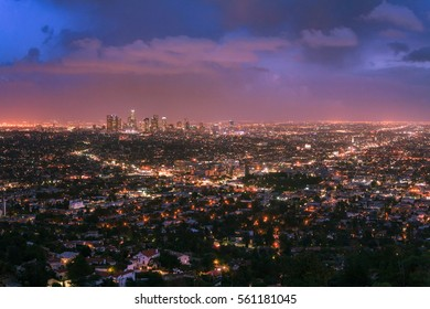 Colorful Sunset over Los Angeles Skyline seen from Griffith Observatory
