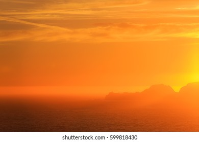 Colorful sunset over Marin Headlands, San Francisco Bay, California