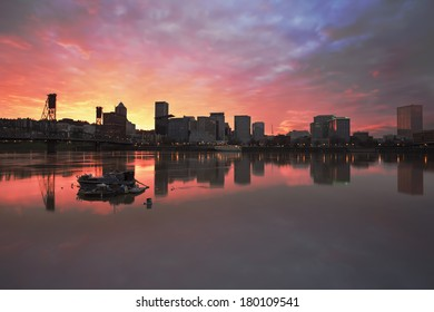 Colorful Sunset Over Portland Oregon Downtown Waterfront City Skyline