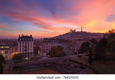 Colorful sunset over Vieux Lyon and Basilica Notre-Dame de Fourviere. Lyon, France.