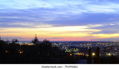 Colorful Sunset Over Western Barcelona From Montjuic- January 2018 - Barcelona, Spain