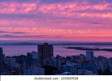 Colorful sunset in Porto Alegre,  Brazil