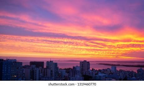 Colorful sunset in Porto Alegre, southern Brazil