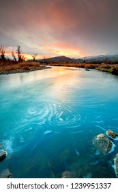 Colorful sunset at the Provo River, Utah, USA.