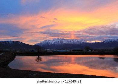 Colorful sunset reflection in Heber Valley, Utah, USA.
