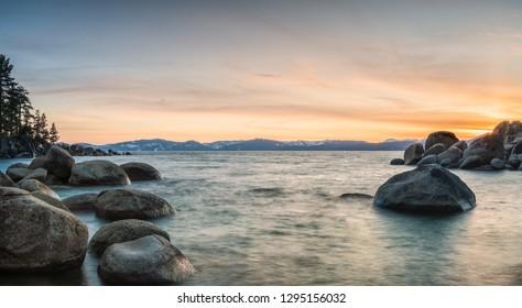 Colorful Sunset at Sand Harbor, Lake Tahoe Nevada