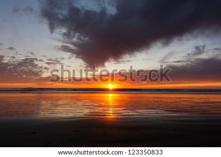 Colorful sunset at Silver Strand State Beach in Coronado, California