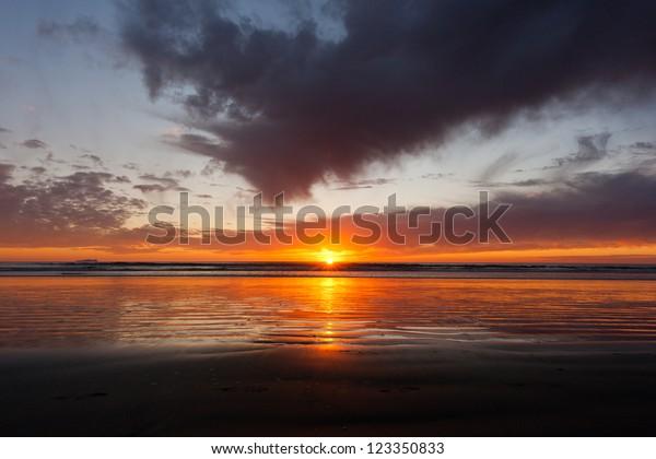 Colorful sunset at Silver Strand State Beach in Coronado, California
