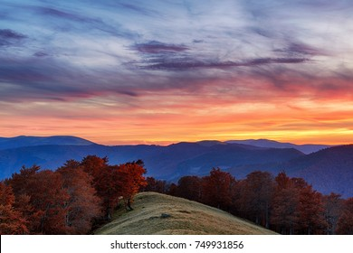 Colorful sunset sky in the mountains with red autumn colored leaves on the trees