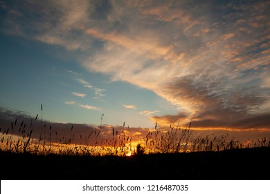 Colorful sunset sky nature background