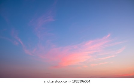 Colorful sunset and sunrise with clouds. Blue and orange color of nature. Many white clouds in the blue sky. The weather is clear today. sunset in the clouds. The sky is twilight
