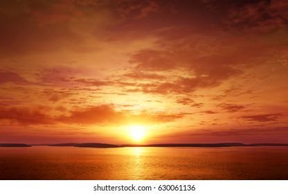 Colorful Sunset or sunrise landscape. Photo real 3D rendering