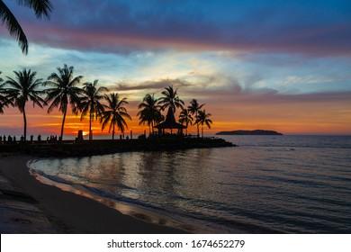 Colorful sunset in Tanjung Aru Kota Kinabalu beach in Sabah Borneo Malaysia.