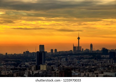 Colorful sunset of Tehran skyline.Tehran-Iran cityscape at the afternoon.