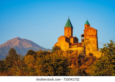 Colorful sunset view of Gremi fortress in Kakheti region of Georgia