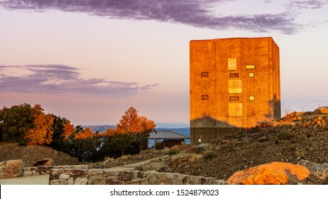 Colorful sunset view of the Radar tower, cold war relic left standing on top of Mount Umunhum, Santa Cruz mountains, South San Francisco Bay Area, California
