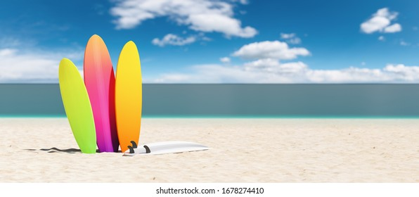 colorful surfboards on the beach, copy space for individual text