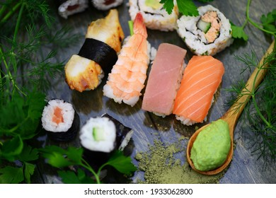 Colorful sushi with wasabi and soy sauce