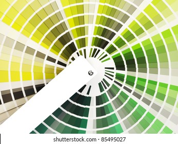 colorful swatch book with shades of green with a white label