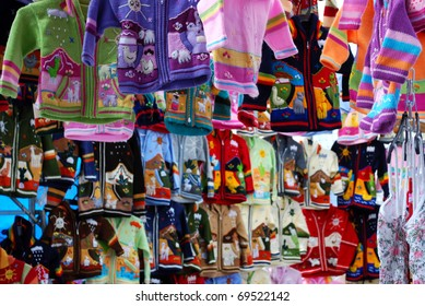 Colorful Sweaters At A Spanish Market
