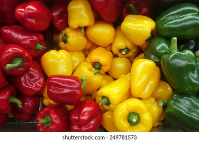 Colorful sweet bell peppers on market for sell