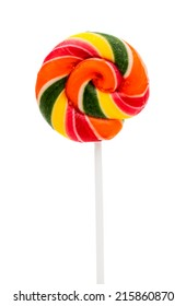 Colorful Sweet Lollipop For Children On White Background