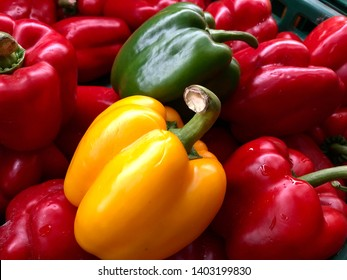 A colorful sweet pepper or bell pepper or Capsicum in green basket