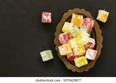 colorful sweet Turkish delight in the traditional dishes