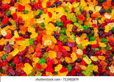 Lot of colorful sweets at the fair