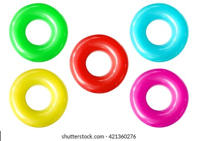 Colorful swim ring isolated on white background.