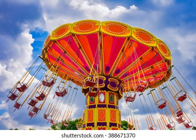 Colorful swing ride at the amusement park