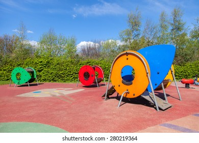Colorful swings on the playground