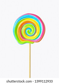 Colorful swirl lollipop on wooden stick isolated on white background