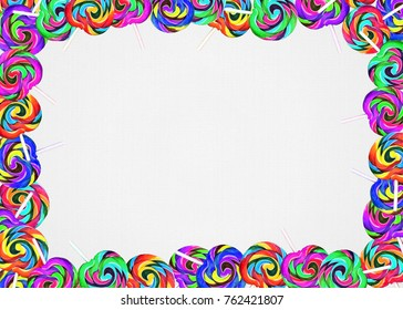 colorful swirled lollipop border on cream colored textured background