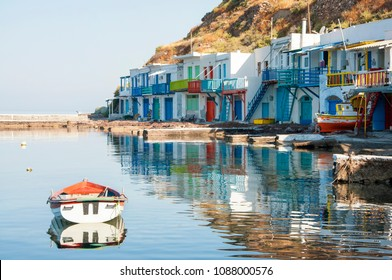 Colorful syrmata fishing houses of Klima village at Milos island in Greece