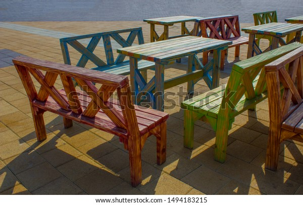 Colorful Tables Chairs On Background Stock Photo Edit Now 1494183215